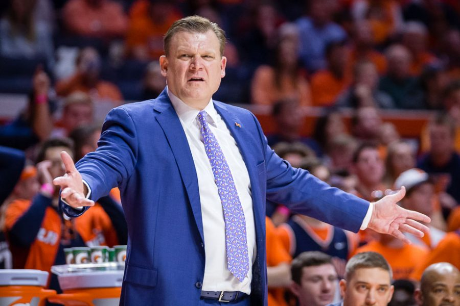 Illinois+head+coach+Brad+Underwood+reacts+to+action+on+the+court+during+the+game+against+Wisconsin+at+State+Farm+Center+on+Wednesday%2C+Jan.+23%2C+2019.+The+Illini+lost+72-60.