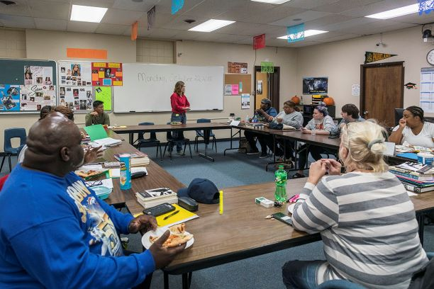 Member of the Odyssey class meet at the Urbana Adult Education Center. The Odyssey program allows community learners to receive humanities education.