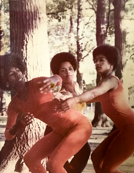 "Connie Eggleston (left), who graduated from the University of Illinois in 1972, dances with friends in the 1960s for the Champaign studio ""Artist in Motion."""