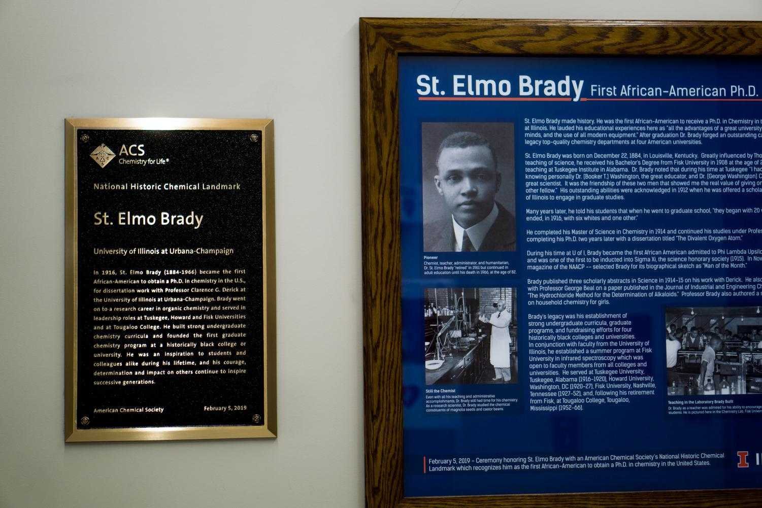 A bronze plaque dedicated to St. Elmo Brady in Noyes Hall on Monday. St. Elmo Brady was the first black student to receive a doctoral degree in Chemistry in the U.S.