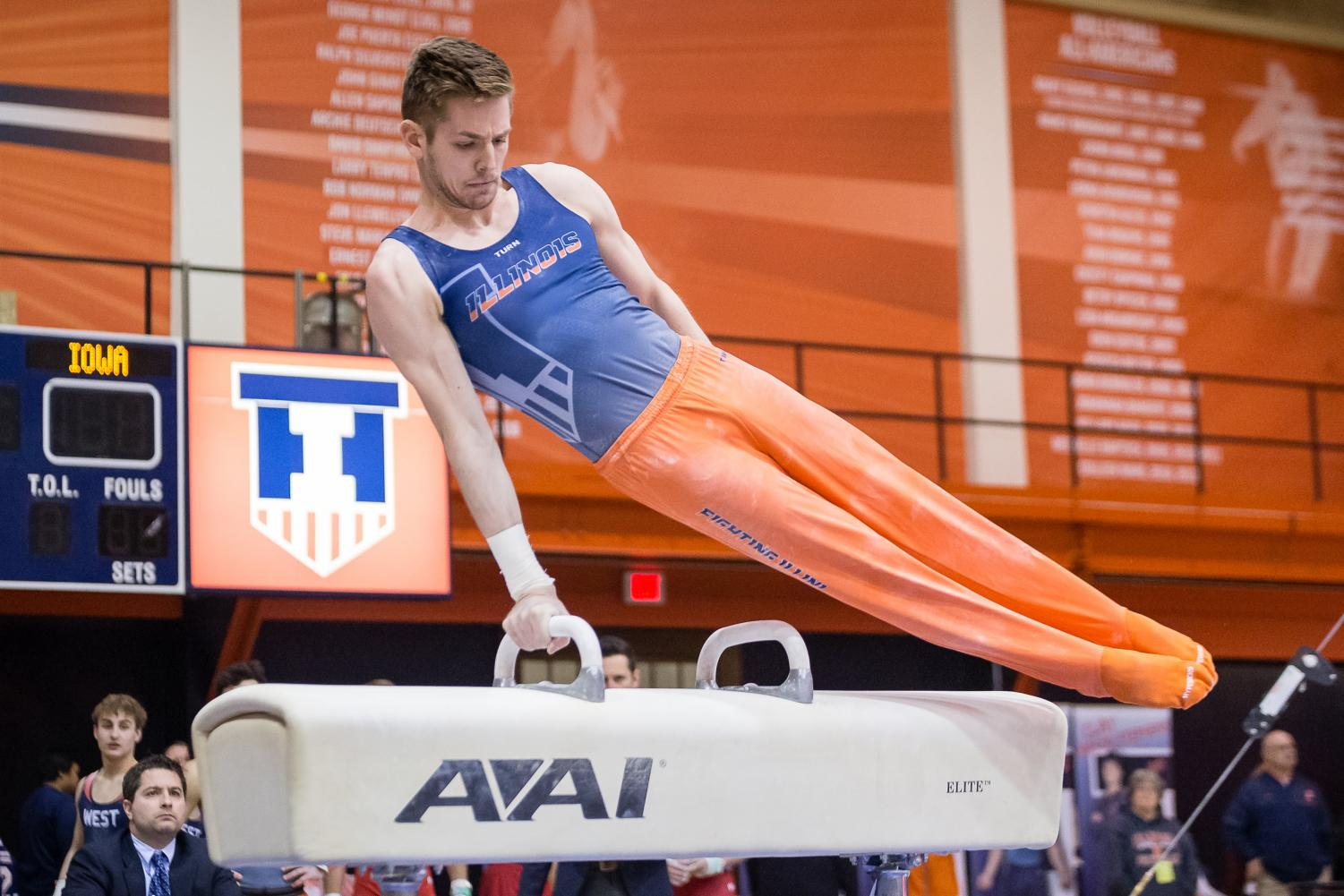 Illinois' Michael Paradise performs on the pommel horse during the meet against Iowa at Huff Hall on Jan. 26. The Illini won 410.450-398.800.