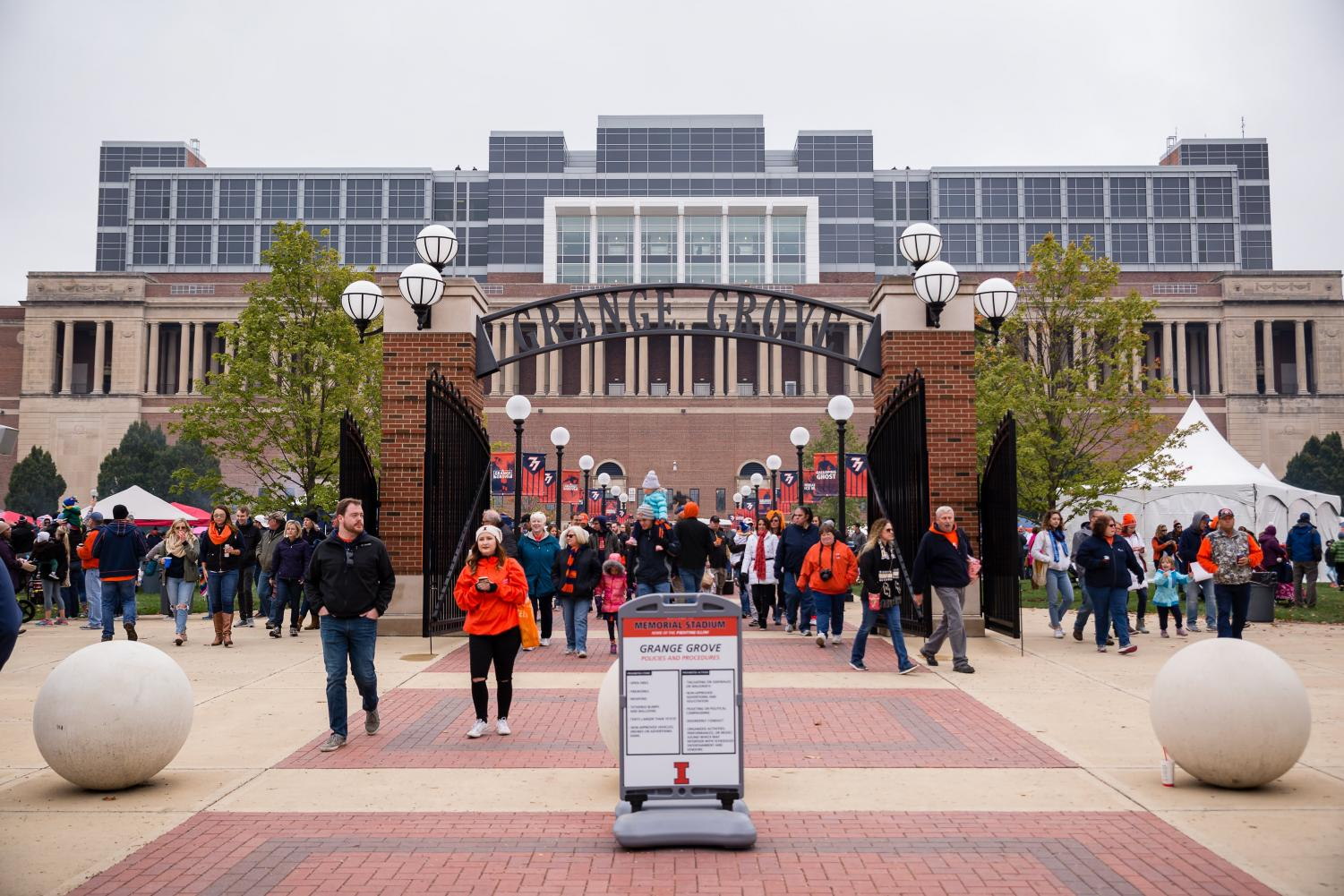Illini football fans fill Grange Grove before the game against Purdue at Memorial Stadium on Oct. 13.