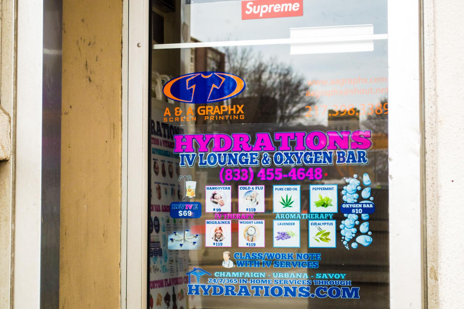 Hyrdations IV Lounge and Oxygen Bar on Green Street. The location offers hangover treatments.
