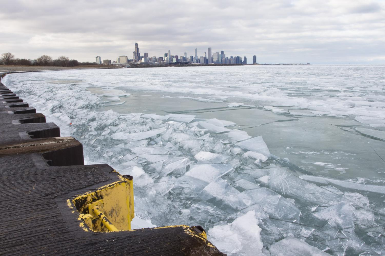 Lake Michigan frozen over in Chicago on Jan. 23, 2016. Three Illinois representatives have filed bill HR0101 to make Chicago its own state.