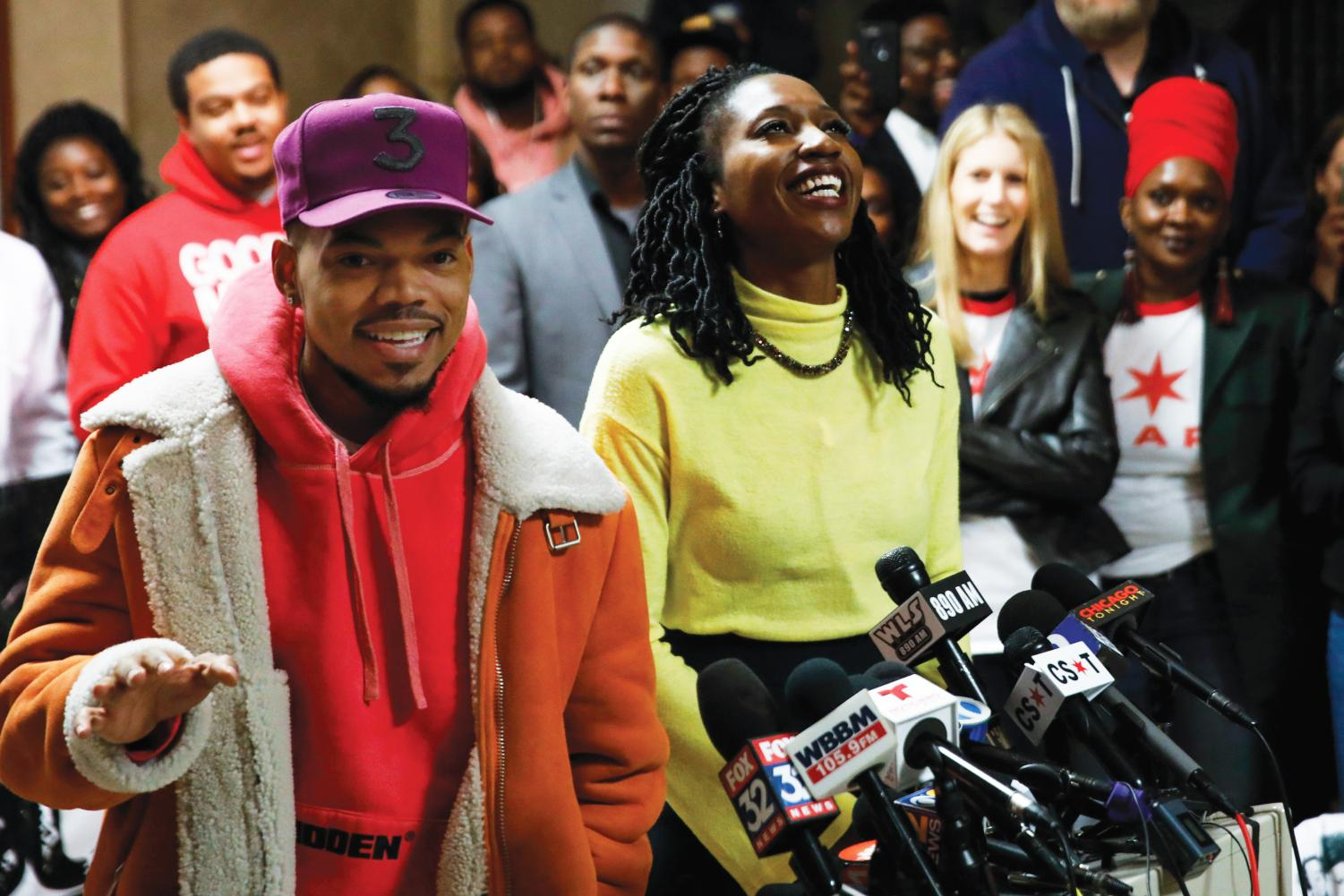 Chance the Rapper endorses Amara Enyia, right, for mayor of Chicago at a news conference at City Hall on Oct. 16 in Chicago