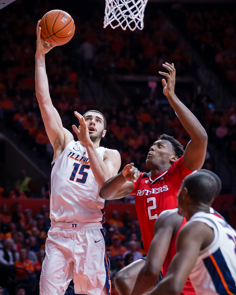 Illinois forward Giorgi Bezhanishvili goes up for a layup during the game against Rutgers at the State Farm Center on Saturday. The Illini won 99-94, making this the team's third straight Big Ten win.