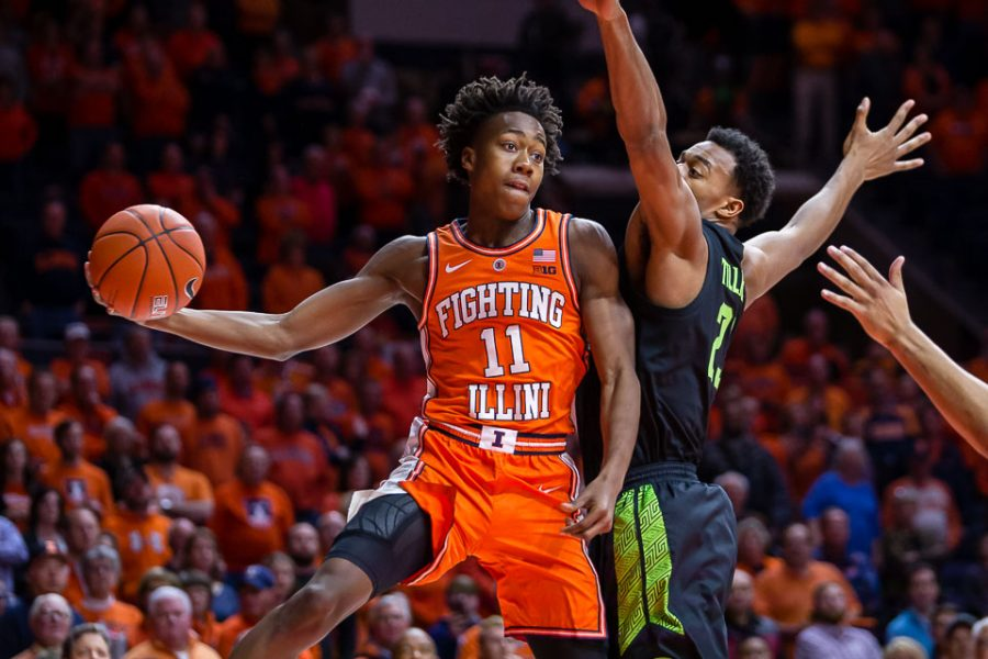 Illinois+guard+Ayo+Dosunmu+%2811%29+looks+to+pass+the+ball+during+the+game+against+Michigan+State+at+State+Farm+Center+on+Tuesday%2C+Feb.+5%2C+2019.+The+Illini+won+79-74.