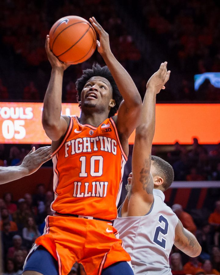 Illinois+guard+Andres+Feliz+%2810%29+goes+up+for+a+layup+during+the+game+against+Penn+State+at+State+Farm+Center+on+Saturday%2C+Feb.+23%2C+2019.
