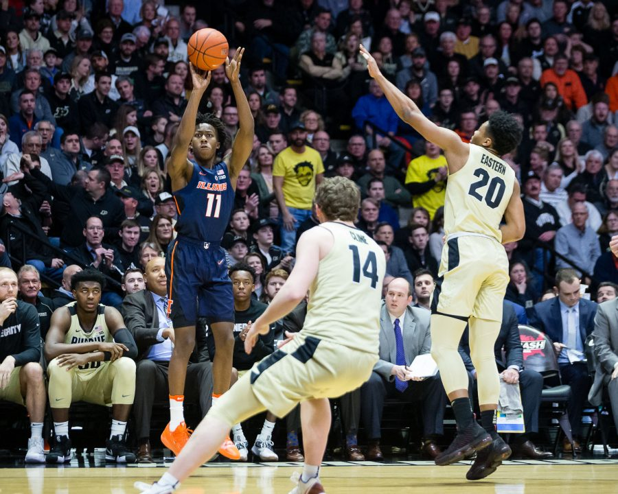 Illinois+guard+Ayo+Dosunmu+%2811%29+shoots+a+three+during+the+game+against+Purdue+at+Mackey+Arena+on+Wednesday%2C+Feb.+27%2C+2019.+The+Illini+lost+73-56.