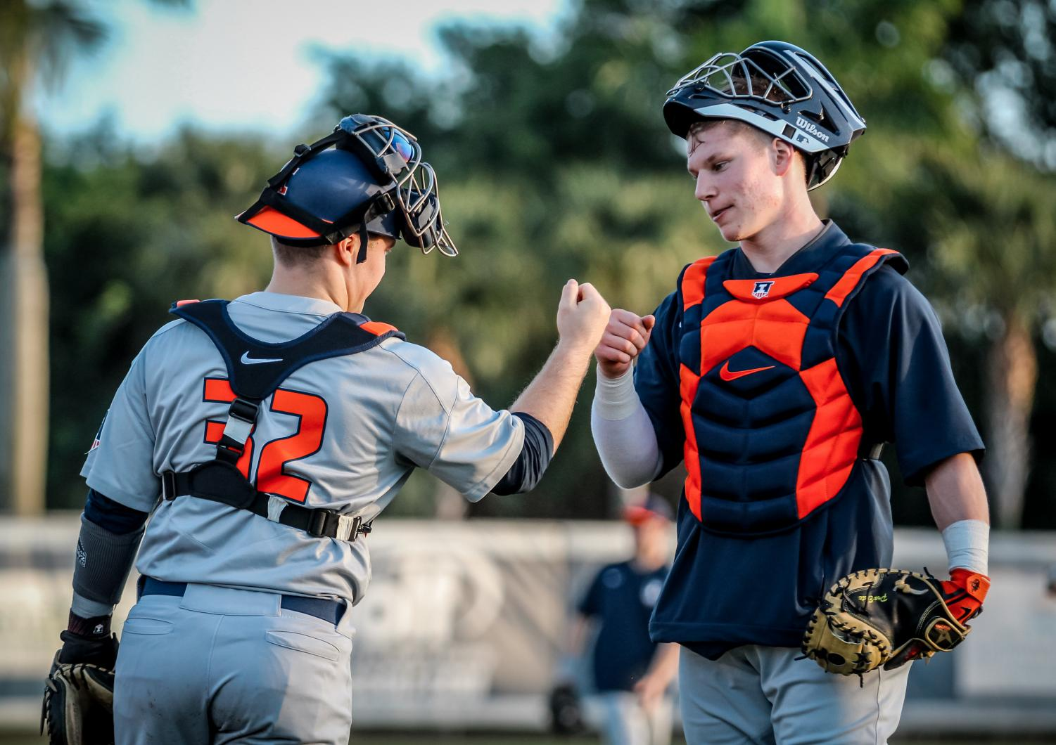 David Craan and teammates celebrate a victory against Florida Atlantic over the weekend. The Illini took all three games of the series for a 6-0 start to the season.
