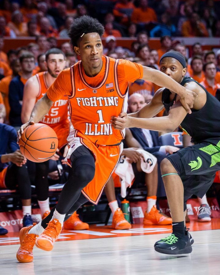 Illinois+guard+Trent+Frazier+drives+to+the+basket+during+the+game+against+Michigan+State+at+the+State+Farm+Center+on+Feb.+5.+The+Illini+won+79-74.