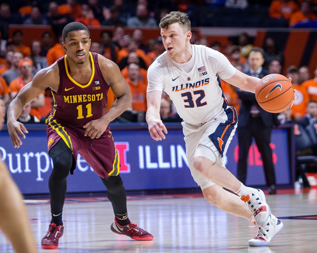 Illinois guard Tyler Underwood (32) drives to the basket during the game against Minnesota at State Farm Center on Wednesday, Jan. 16, 2019. The Illini won 95-68.