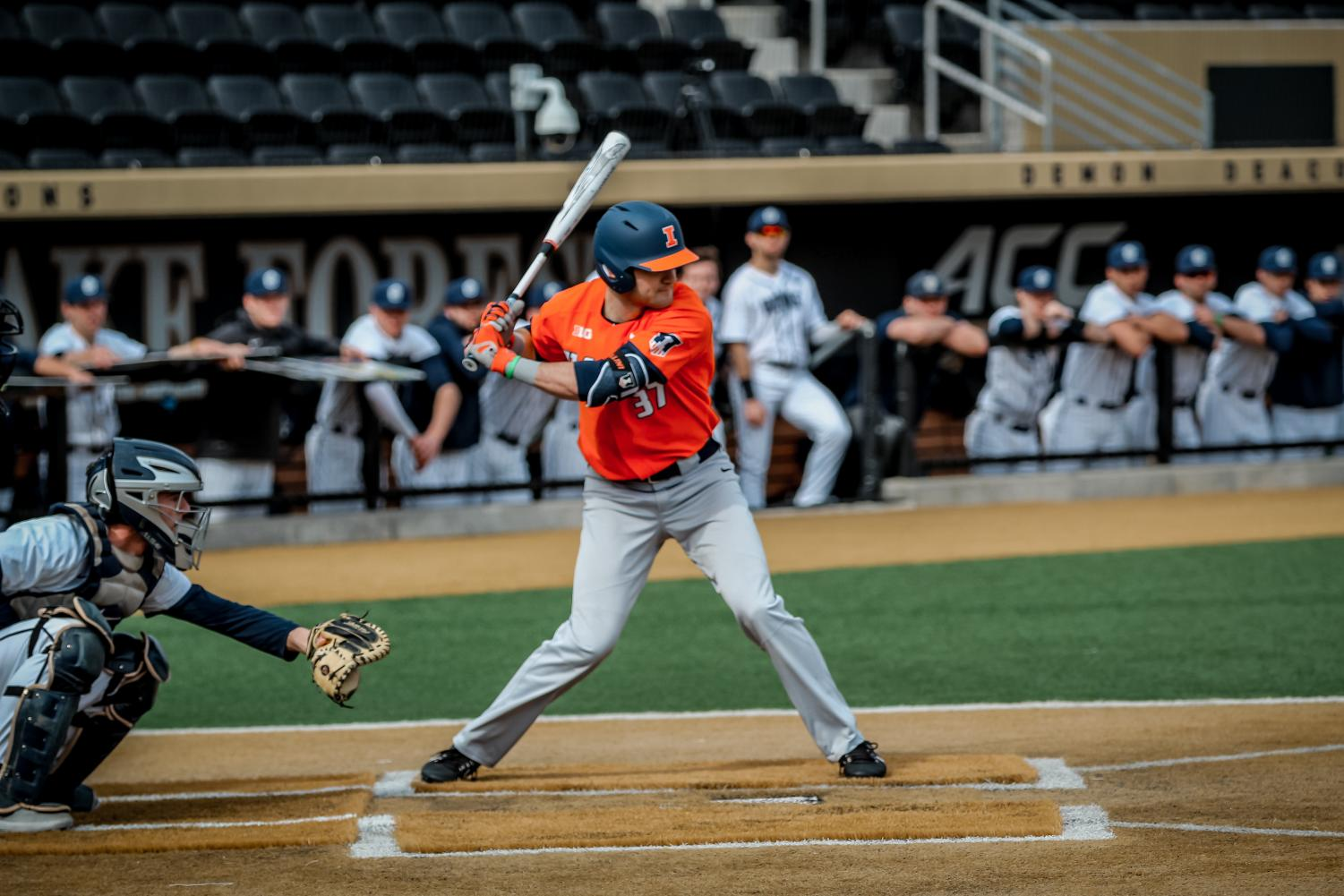 Illinois senior outfielder Zac Taylor winds up to swing during Illinois' weekend tournament at Wake Forest. This weekend opened the Illini's spring campaign.