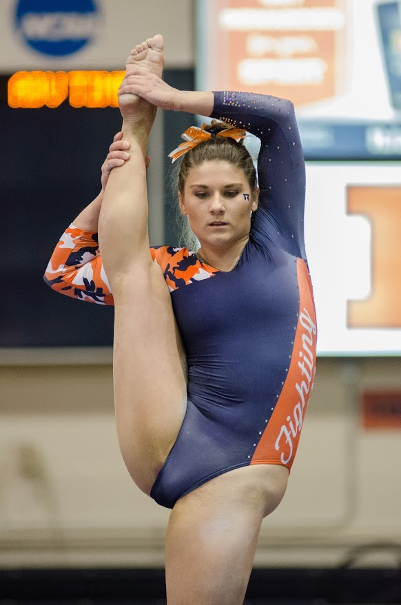 Karen Howell performs her beam routine during Illinois' meet against Michigan on Friday January 19, 2018. Illinois lost to Michigan 194.325 to 194.975.