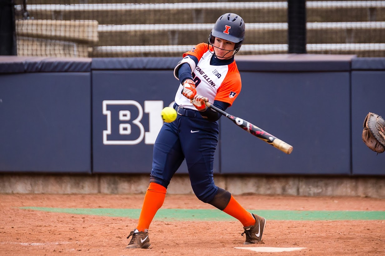 Illinois infielder Annie Fleming (99) swings at the pitch during the game against the University of Wisconsin-Parkside at Eichelberger Field on Saturday, Sept. 29, 2018. The Illini won 8-0.