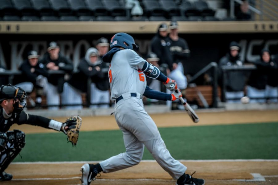 Michael Massey takes a swing against Wake Forest on Saturday. Illinois opened its season with a three-game victory in Cincinnati and hope to maintain momentum as the team takes on Florida Atlantic this weekend.