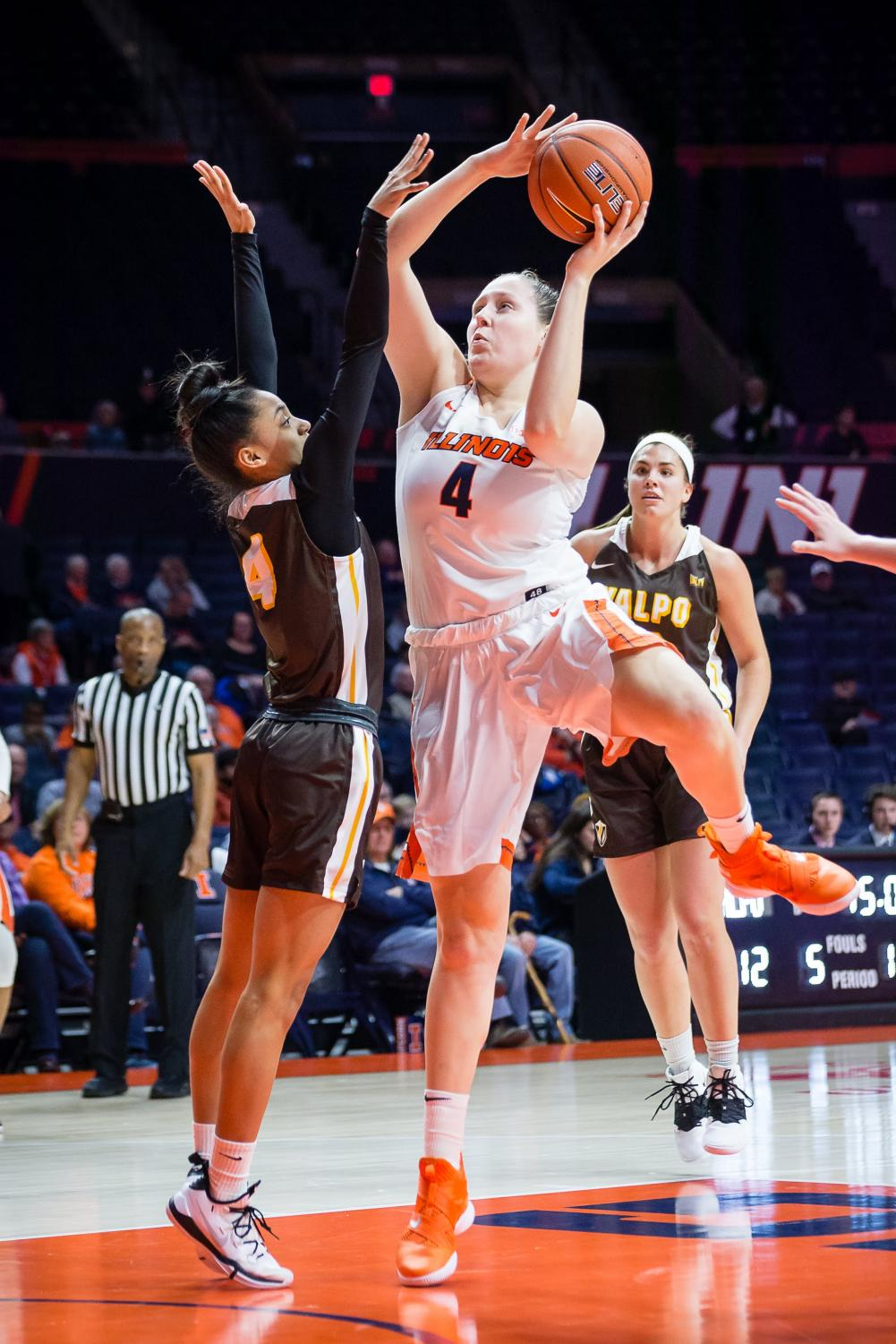 Illinois forward Mackenzie Blazek (4) jumps up to shoot the ball during the game against Valparaiso at State Farm Center on Wednesday, Nov. 14. The Illini won 73-54.