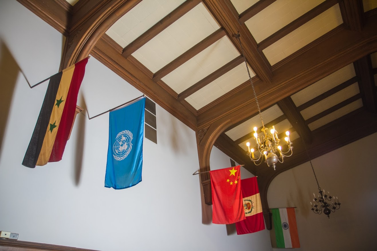 Flags of different countries hung up in the main room of the University YMCA building on Wednesday. The University is home to a number of international students who must learn to adjust to living in a new city in an unfamiliar country.