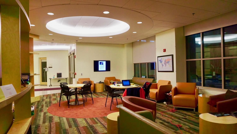 The lobby interior of the Chez Center.