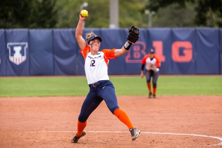 Illinois pitcher Taylor Edwards (12) delivers the pitch during the game against the University of Wisconsin-Parkside at Eichelberger Field on Sept. 29. The Illini won 8-0.