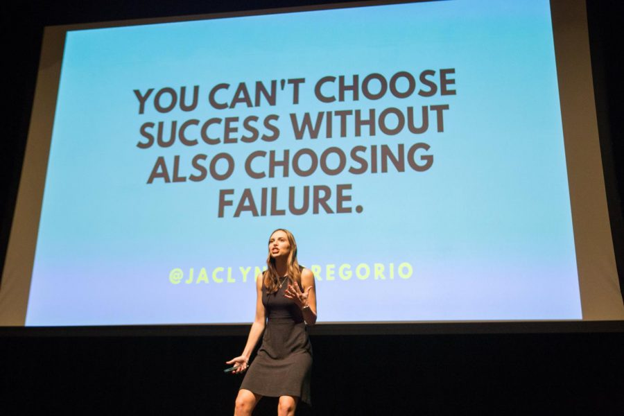 Jaclyn+DiGregorio+speaking+to+the+members+of+Panhellenic+Council+about+achieving+success+through+failures+at+PHC%27s+first+Pride+Event+of+the+year+on+Wednesday.