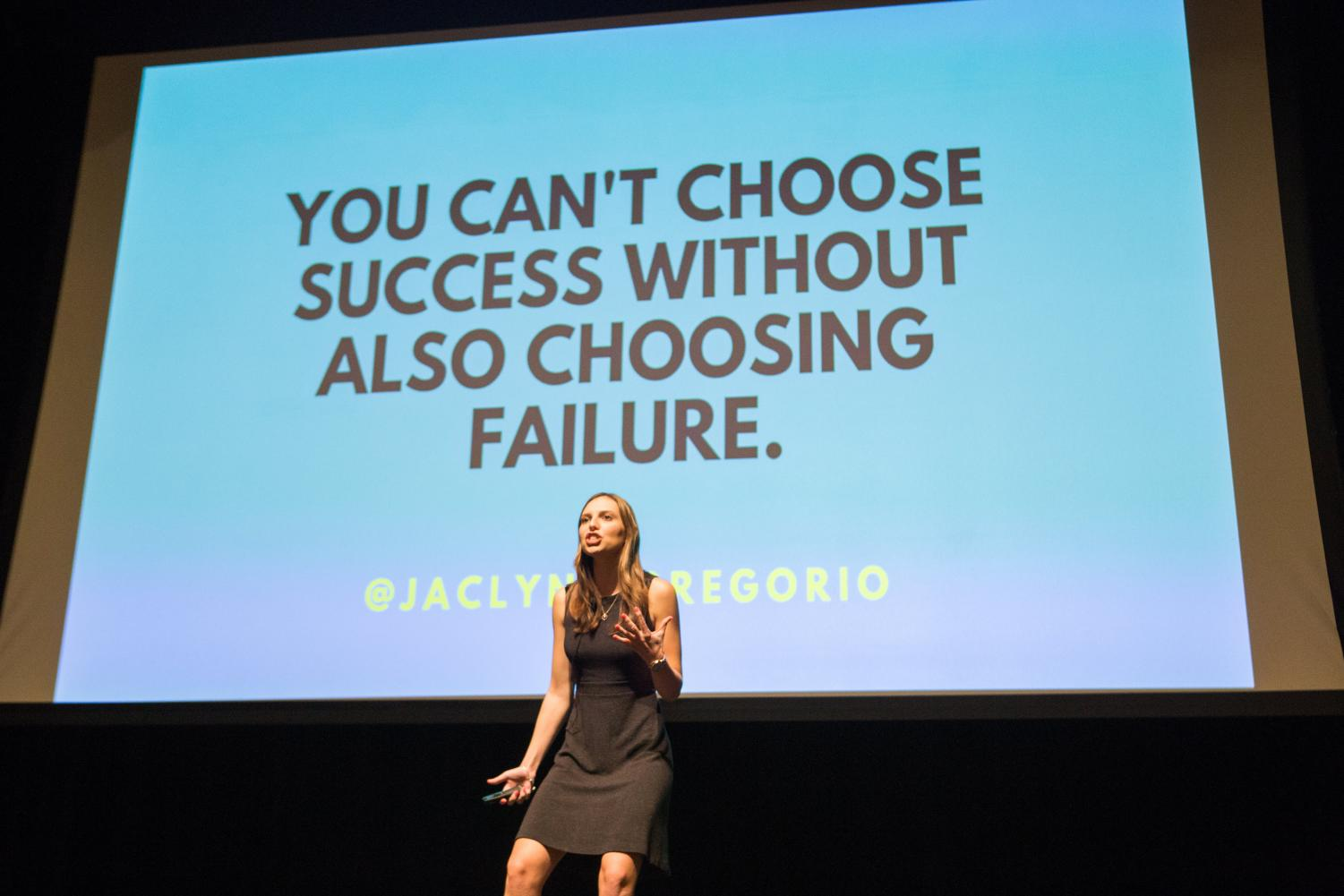 Jaclyn DiGregorio speaking to the members of Panhellenic Council about achieving success through failures at PHC's first Pride Event of the year on Wednesday.