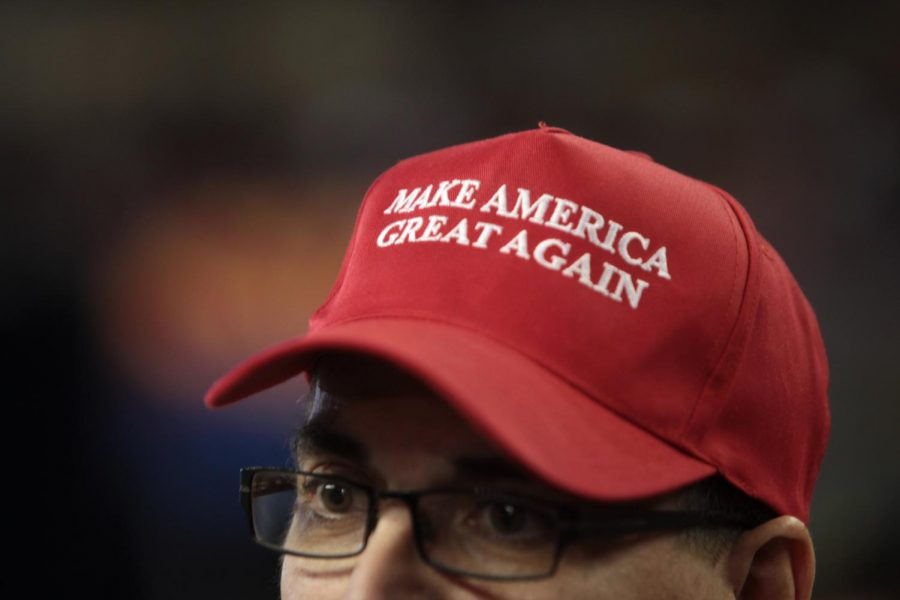 A+%22Make+America+Great+Again%22+hat+in+support+of+Donald+Trump+is+worn+at+a+rally+at+Veterans+Memorial+Coliseum+at+the+Arizona+State+Fairgrounds+in+Phoenix%2C+Arizona.