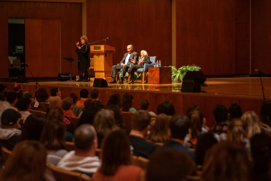 Marthe Cohn (right) at the Great Hall of the Krannert Center for Performing Arts on Feb. 13, 2019. She spoke about her autobiography 'Behind Enemy Lines: The True Story of a French Jewish Spy.