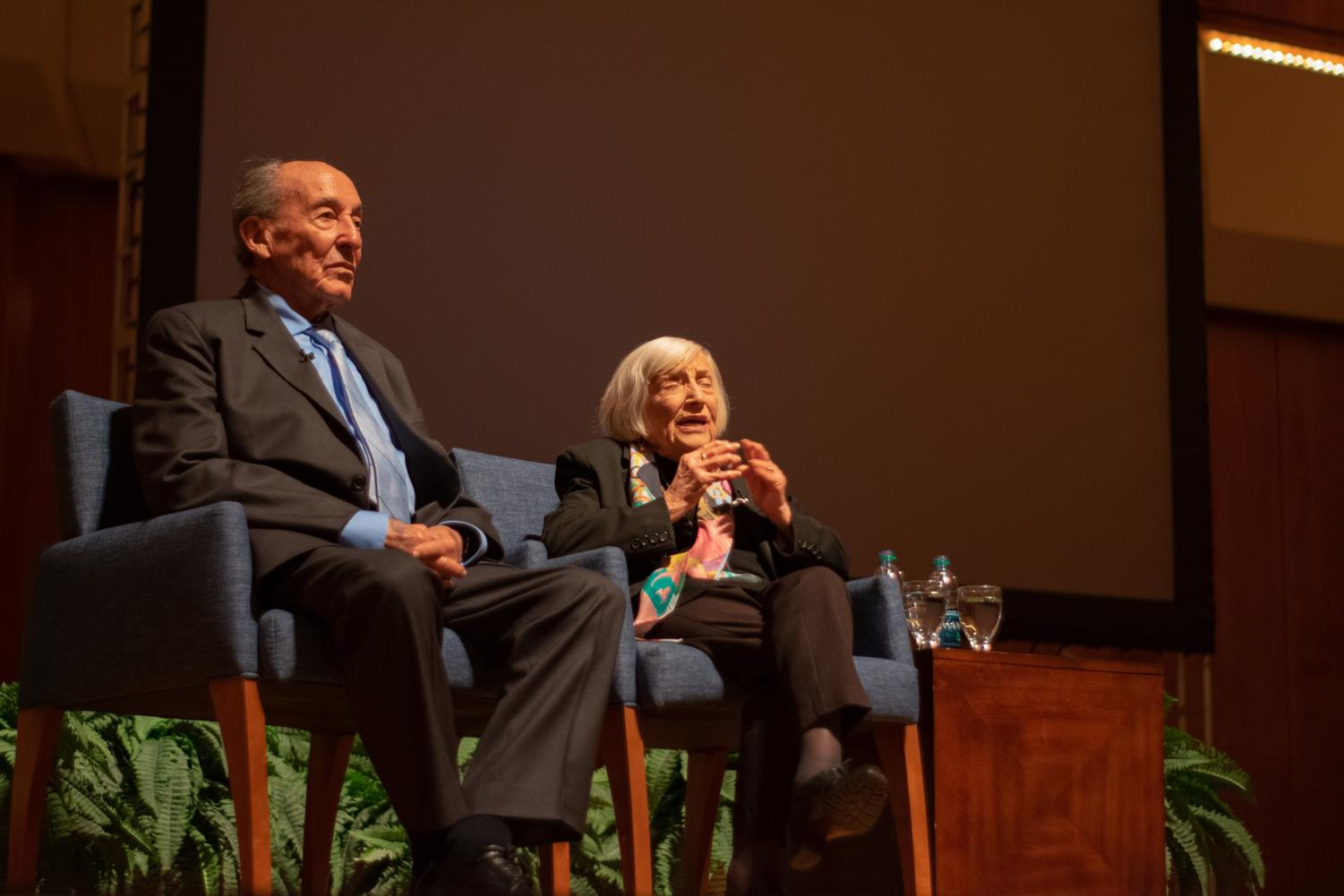 Marthe Cohn (right) in the Great Hall of the Krannert Center for Performing Arts on Feb. 13. She spoke about her autobiography 'Behind Enemy Lines: The True Story of a French Jewish Spy.