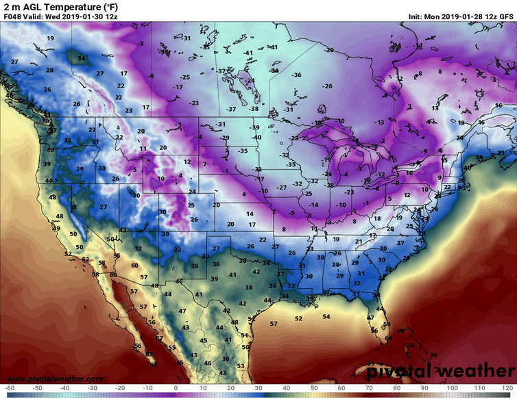 Predicted near-surface air temperatures (F) for Wednesday morning, Jan. 30, 2019. Forecast by NOAA's Global Forecast System model.  Pivotal Weather, CC BY-ND
