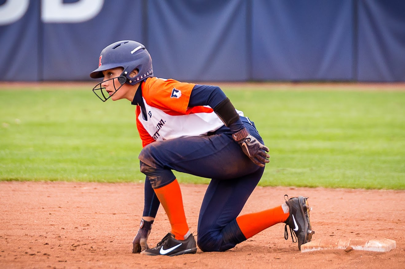 Illinois outfielder Kiana Sherlund (6) gets ready to run to third during the game against the University of Wisconsin-Parkside at Eichelberger Field on Saturday, Sept. 29, 2018. The Illini won 8-0.