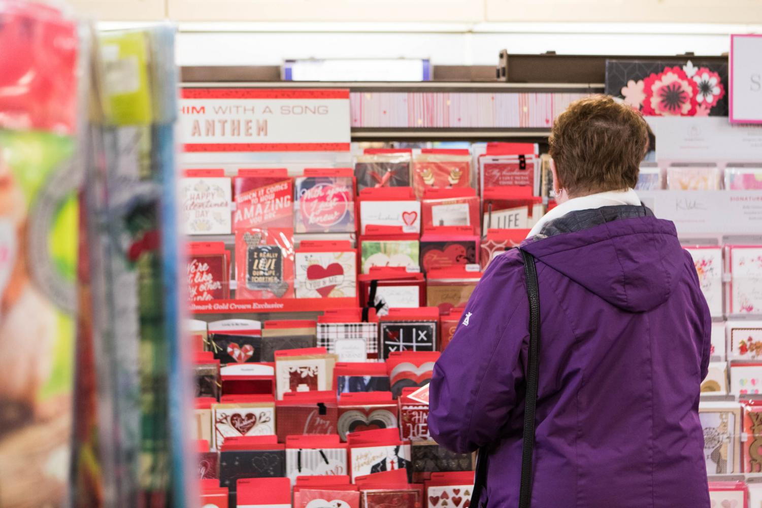 A woman shops for Valentine's Day cards at the Hallmark store at the Academy Plaza Shopping Center in Northeast Philadelphia on Feb. 2, 2018.