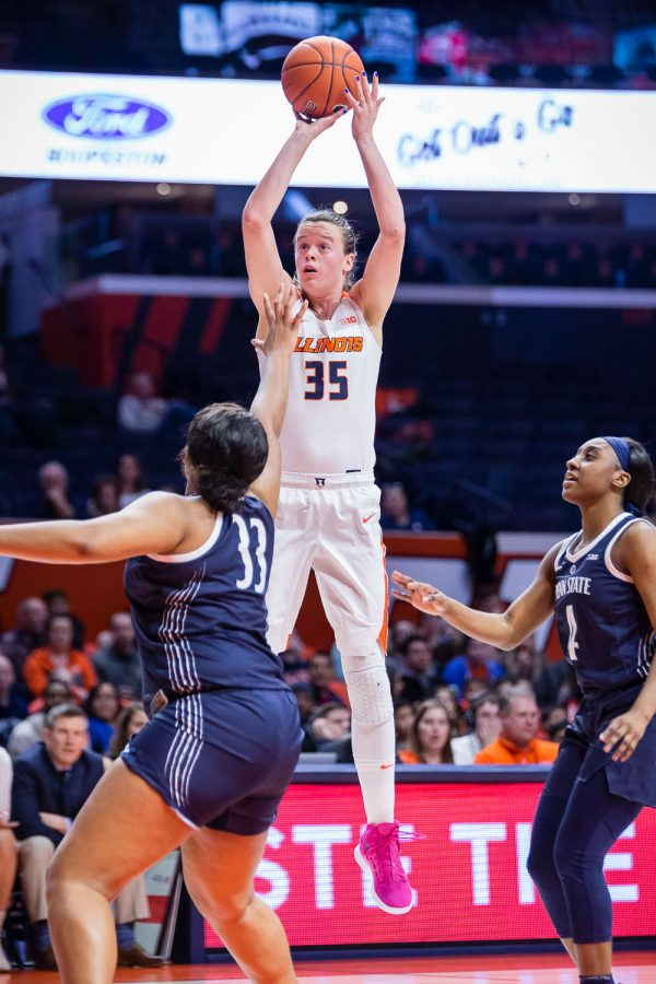 Illinois+forward+Alex+Wittinger+rises+up+to+shoot+the+ball+during+the+game+against+Penn+State+at+the+State+Farm+Center+on+Sunday.+The+Illini+lost+76-65.