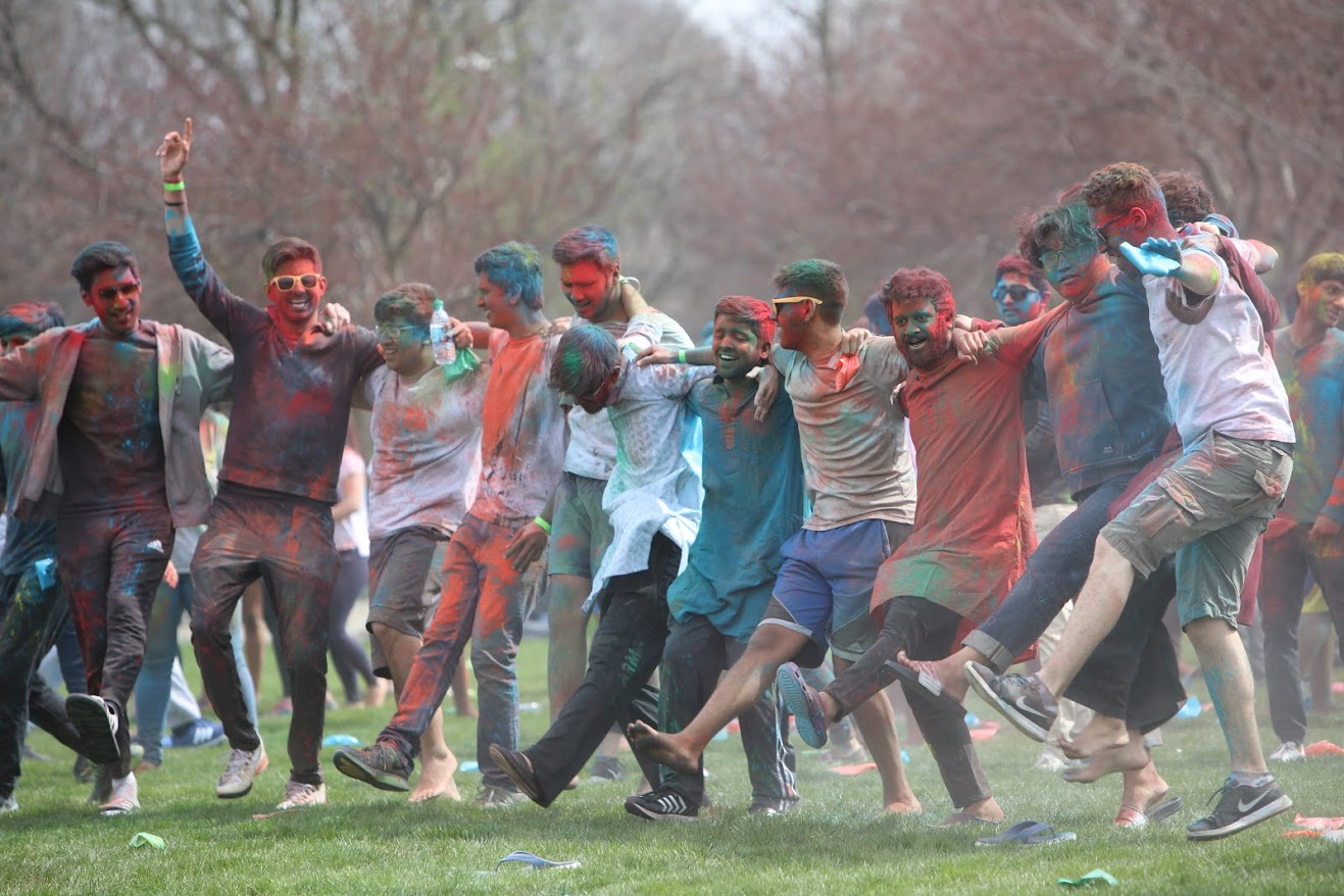 Students celebrate Holi at the Florida and Lincoln Playing Fields on April 21. Holi is an annual Hindu festival celebrating the arrival of spring and includes throwing colored powder on festival participants.