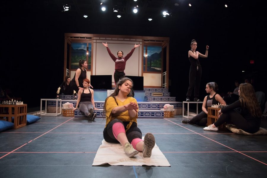 Students+rehearse+for+%22Because+I+Am+Your+Queen%22+%28a+feminist+fantasia%29+at+the+Illinois+Theatre+on+March+13.+The+all-female+cast+enjoys+the+historic+and+empowering+show.