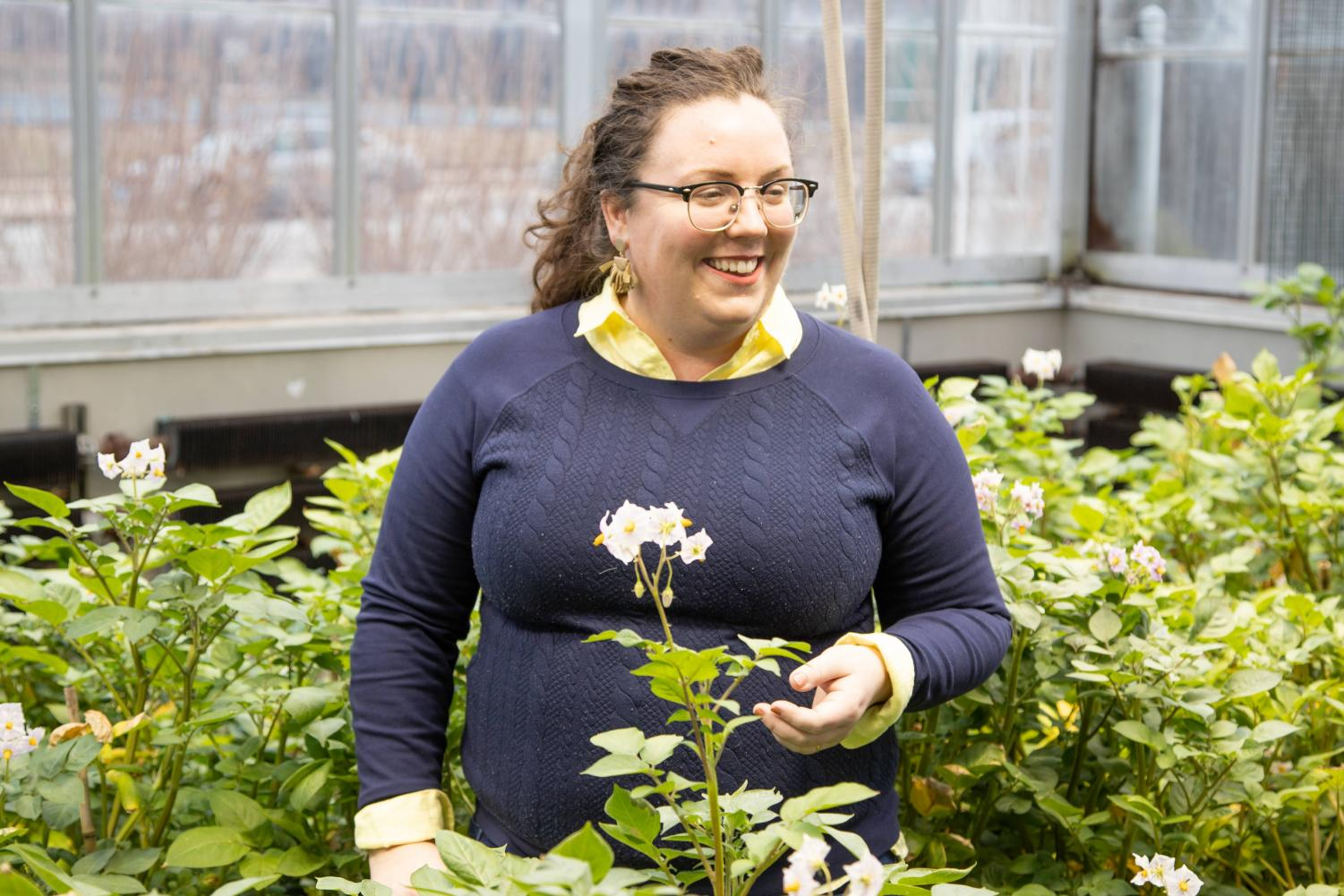 Amanda Cavanagh, a postdoctoral student who helped develop a new method of plant growth in the southernmost greenhouse in the Plant Sciences Laboratory on Friday. The new method currently produces 40 percent more plant growth.