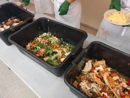 Bins are used to divide different food types after students disposed food in the dinning halls. University researchers conducted their food waste study at Ikenberry and Pennsylvania Avenue dining halls.