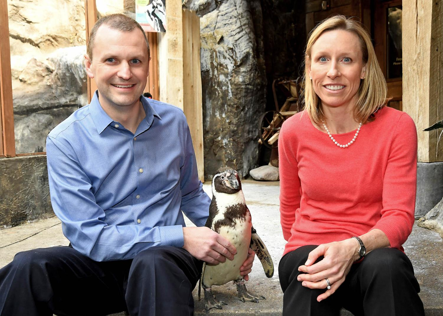 Mike Adkesson and Jen Langan sit with a Humboldt penguin named Pepe, who resides in Brookfield Zoo's Living Coast habitat. The UI alumni are working to save the penguins.