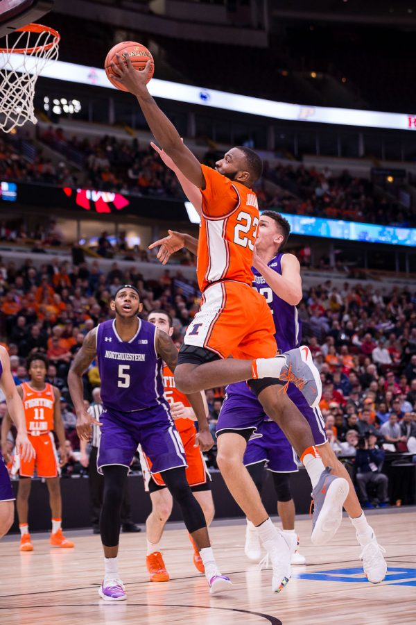 Illinois guard Aaron Jordan goes up for a layup during the game against Northwestern in the first round of the Big Ten Tournament at the United Center on Wednesday.