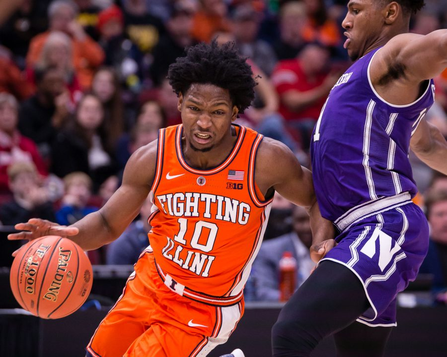 Illinois guard Andres Feliz drives to the basket during the game against Northwestern in the first round of the Big Ten Tournament at the United Center on Wednesday.