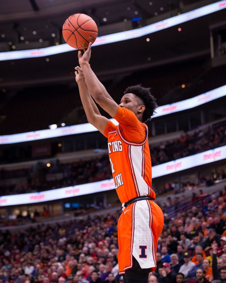 Illinois guard Trent Frazier (1) shoots a three during the game against Northwestern in the first round of the Big Ten Tournament at the United Center on Wednesday, March 13, 2019.