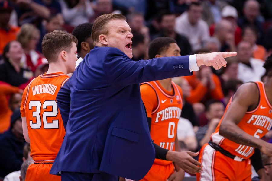 Illinois head coach Brad Underwood shouts at his team during the game against Northwestern in the first round of the Big Ten Tournament at the United Center on Wednesday, March 13, 2019.
