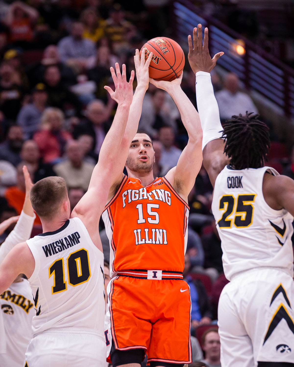 Illinois+forward+Giorgi+Bezhanishvili+%2815%29+shoots+during+the+game+against+Iowa+in+the+second+round+of+the+Big+Ten+Tournament+at+the+United+Center+on+Thursday%2C+March+14.+The+Illini+lost+83-62.