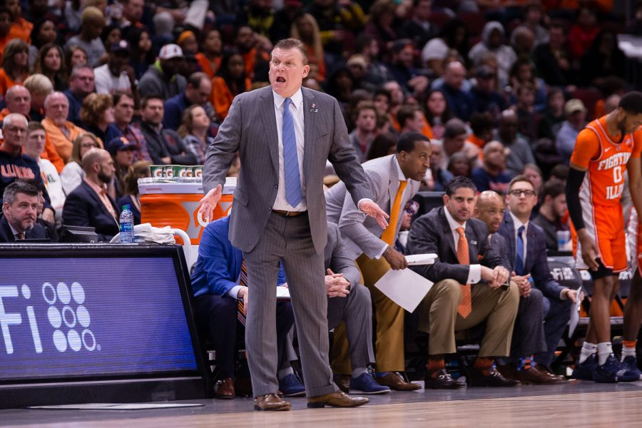 Illinois head coach Brad Underwood shouts at his team from the sideline during the game against Iowa in the second round of the Big Ten Tournament at the United Center on Thursday, March 14. The Illini lost 83-62.
