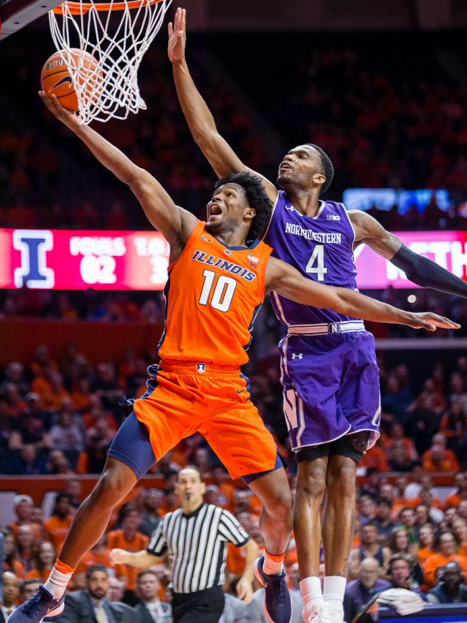 Illinois+guard+Andres+Feliz+goes+up+for+a+layup+during+the+game+against+Northwestern+at+the+State+Farm+Center+on+Sunday.+Feliz+put+up+a+career-high+26+points+to+help+the+Illini+defeat+the+Wildcats%2C+81-76.