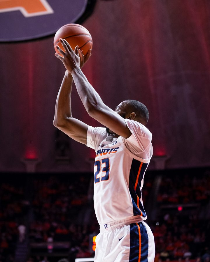 Illinois+guard+Aaron+Jordan+shoots+a+three+during+the+game+against+Indiana+at+the+State+Farm+Center+on+Thursday.+The+Illini+lost+92-74.