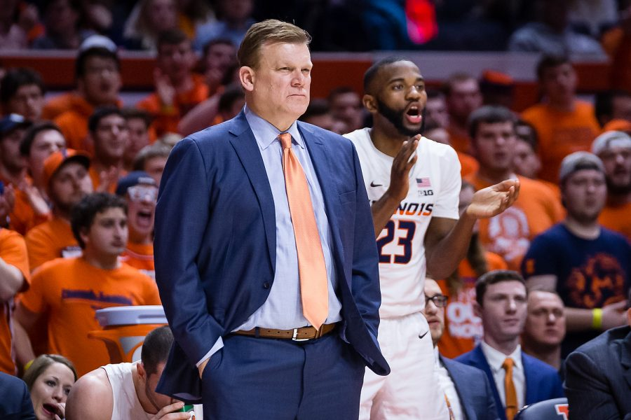 Illinois head coach Brad Underwood watches his team from the sideline during the game against Indiana at the State Farm Center on Thursday. The Illini lost 92-74 in their final home game of the season.