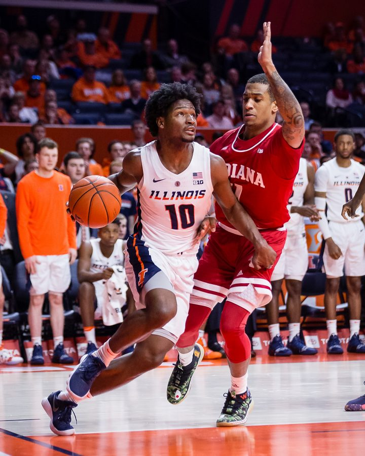Illinois guard Andres Feliz (10) dribbles down the baseline during the game against Indiana at State Farm Center on Thursday, March 7, 2019. The Illini lost 92-74.