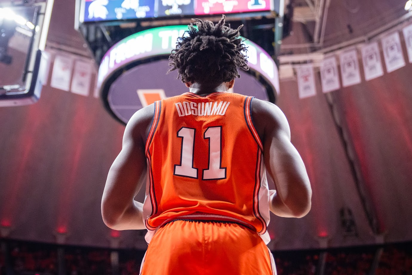 Illinois guard Ayo Dosunmu waits to throw the ball in during the game against Michigan State at the State Farm Center on Feb. 5. The Illini won 79-74.