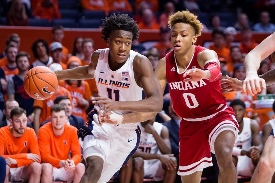 Illinois guard Ayo Dosunmu (11) drives to the basket during the game against Indiana at State Farm Center on Thursday, March 7, 2019. The Illini lost 92-74.